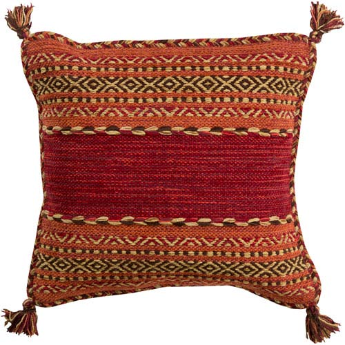 Trenza Red and Orange 20-Inch Pillow Cover