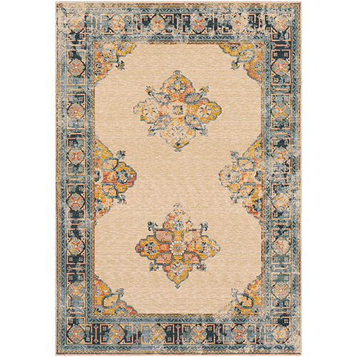 Trailblazer Saffron and Pale Blue Rectangular: 8 Ft. x 11 Ft. Rug