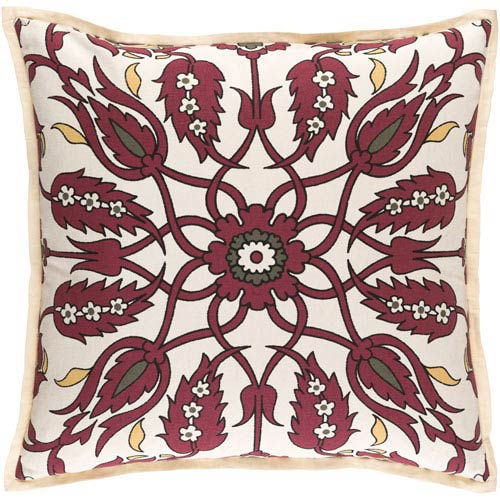 Vincent Burgundy and Ivory 18-Inch Pillow with Poly Fill