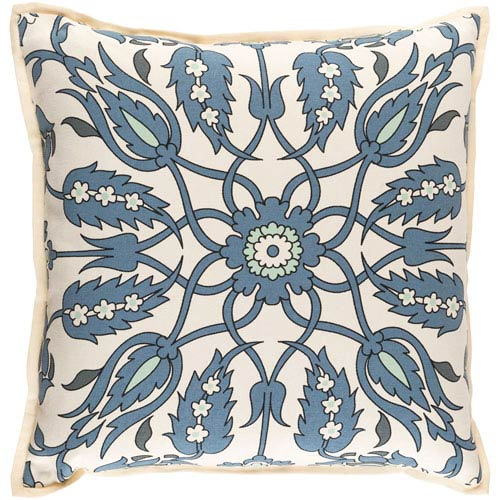 Vincent Blue and Green 22-Inch Pillow Cover