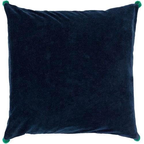 Velvet Poms Blue and Green 20-Inch Pillow Cover