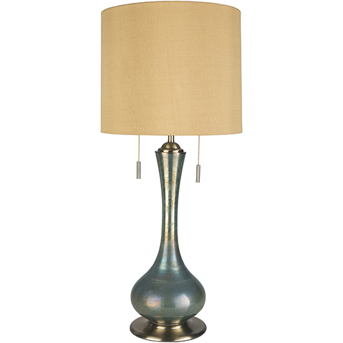 Wakefield Iridescent Teal One-Light Table Lamp with Wheat Shade