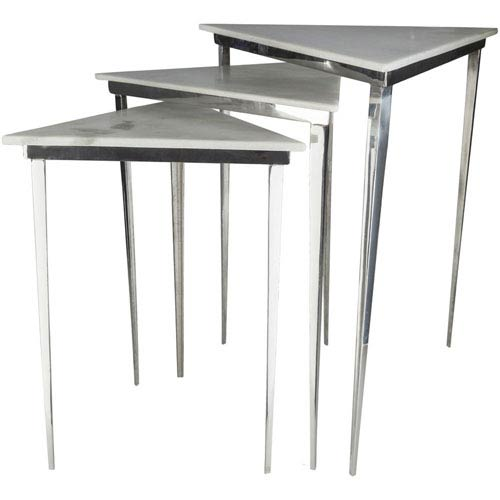Westover Silver and White Side Table