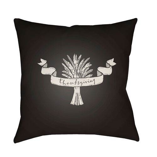 Black Wheat 20-Inch Throw Pillow with Poly Fill