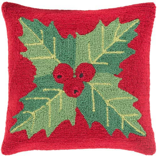 Red Winter Mistletoe 18-Inch Throw Pillow with Poly Fill