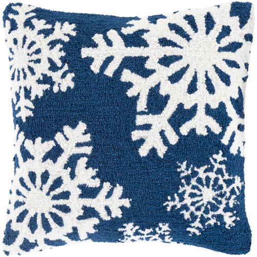 Navy Winter Snowflakes 18-Inch Throw Pillow with Poly Fill