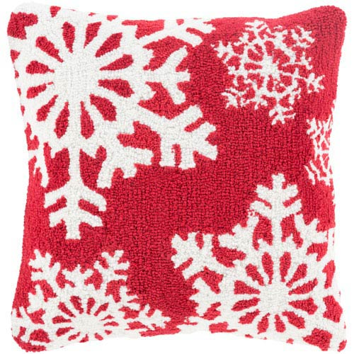 Red Winter Snowflakes 18-Inch Throw Pillow with Poly Fill