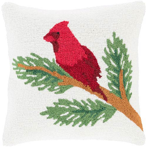 White Winter Cardinal 18-Inch Throw Pillow with Down Fill