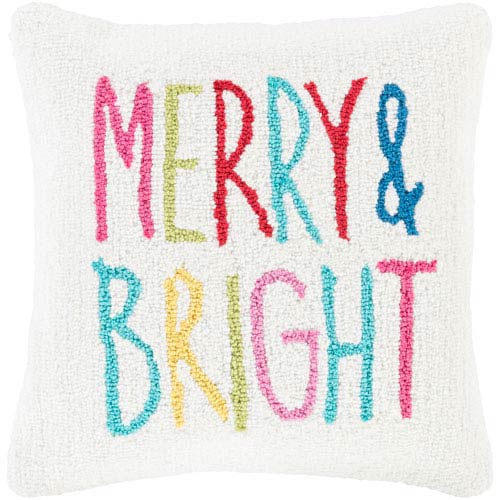 White Winter Merry and Bright 18-Inch Throw Pillow with Poly Fill