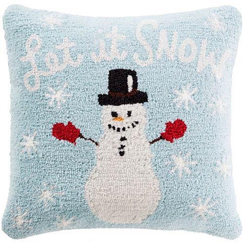 Blue Winter Snowman  18-Inch Pillow Cover