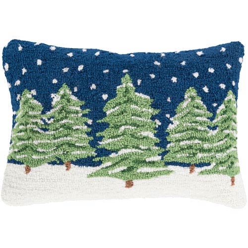Navy Winter Evergreens 13 x 19 Throw Pillow with Poly Fill