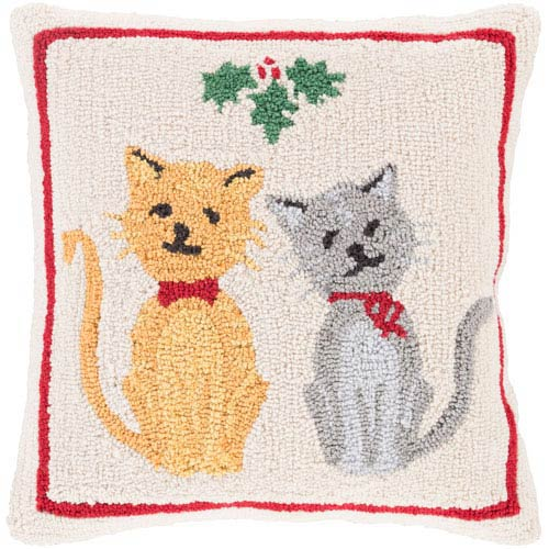 Beige Winter Cats 18-Inch Throw Pillow with Poly Fill