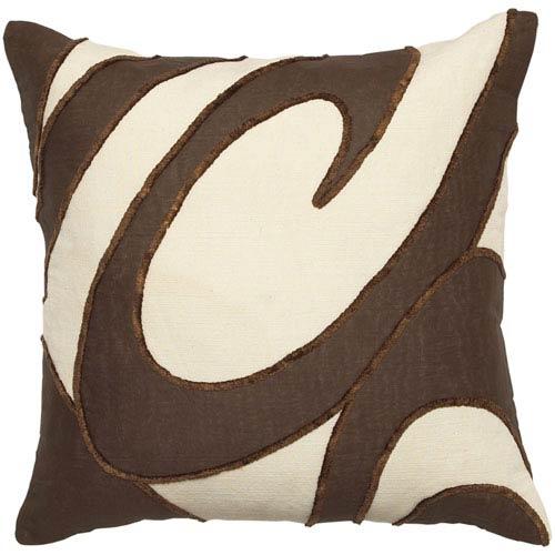 Surya Wellington Ecru/Chocolate 22 x 22 Pillow