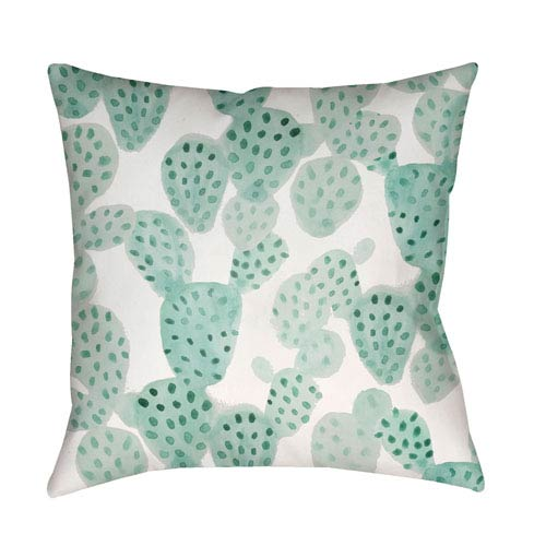 Prickly II Green and Neutral 18 x 18-Inch Throw Pillow