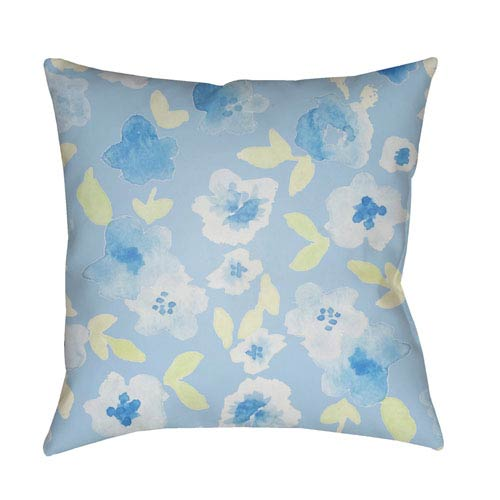 Surya Flowers Blue and Green 18 x 18-Inch Throw Pillow