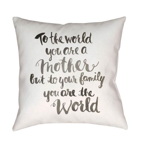 Surya You are The World Black and Neutral 18 x 18-Inch Throw Pillow