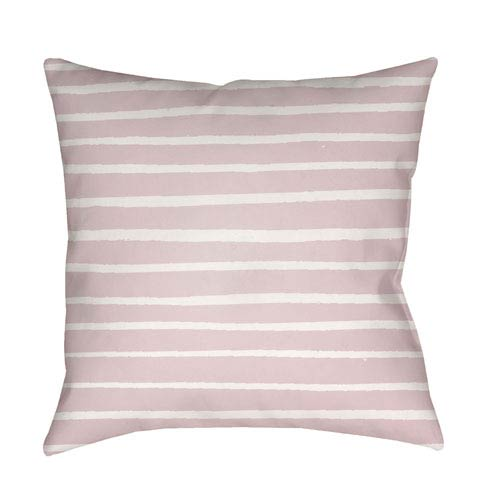 Surya Stripes Pink and White 20 x 20-Inch Throw Pillow