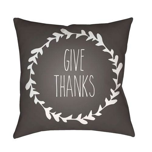 Gray Wreath 20-Inch Throw Pillow with Poly Fill
