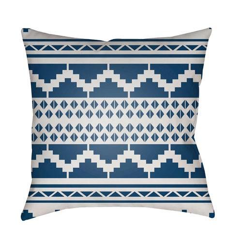 Surya Yindi White and Dark Blue 22 x 22-Inch Pillow