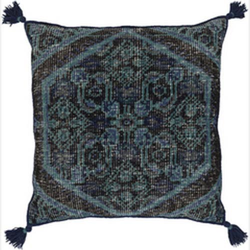 Vintage Heirloom Navy and Charcoal 30-Inch Pillow with Down Fill