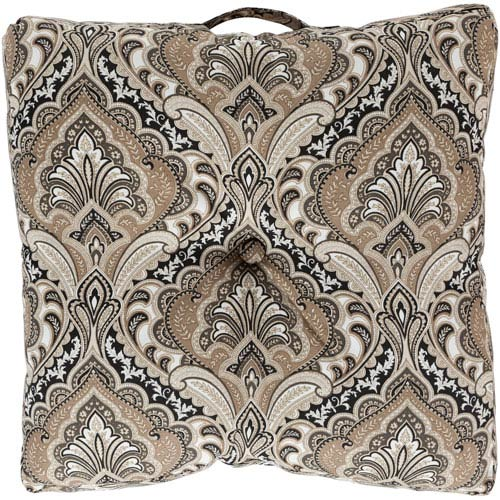 22-Inch Square Neutral Multi-Color Paisley Polyester Floor Cushion