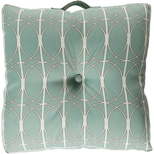22-Inch Square Blue Haze, Dark Chocolate, and Antique White Patterned Polyester Floor Cushion