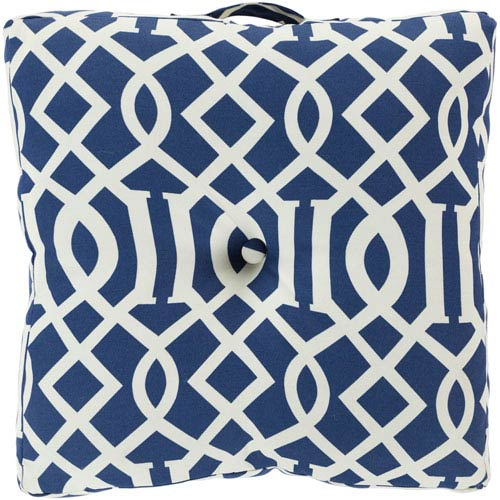 22-Inch Square Blue Corn and Papyrus Patterned Polyester Floor Cushion