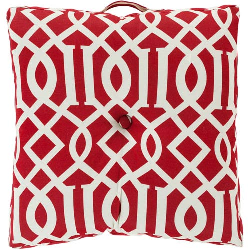 22-Inch Square Venetian Red and Papyrus Patterned Polyester Floor Cushion