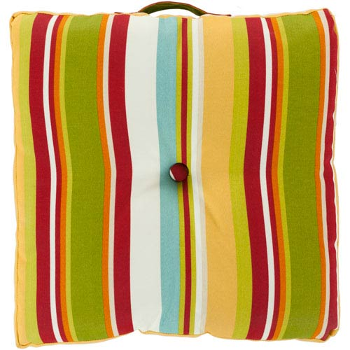22-Inch Square Multi-Color Striped Polyester Floor Cushion