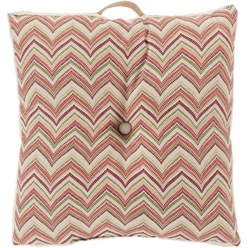 22-Inch Square Red Multi-Colored Zig-Zag Striped Polyester Floor Cushion