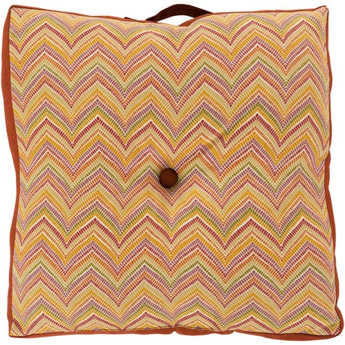 22-Inch Square Red and Gold Multi-Color Zig-Zag Striped Polyester Floor Cushion