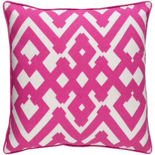 Large Zig Zag Hot Pink and Ivory 22-Inch Pillow with Down Fill