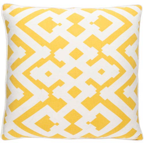 Large Zig Zag Sunflower and Ivory 18-Inch Pillow with Down Fill