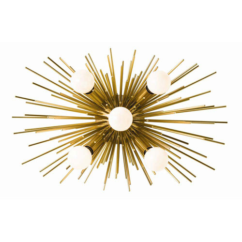 Zanadoo Antique Brass 12-Inch Five-Light Wall Sconce