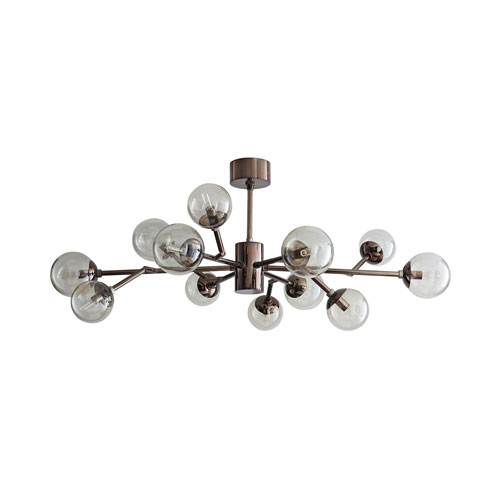 Dallas Brown Nickel 35-Inch 12-Light Mini Chandelier