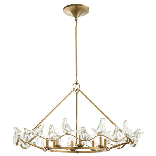 Arteriors Home Dove Antique Brass 45-Inch Eight-Light Chandelier
