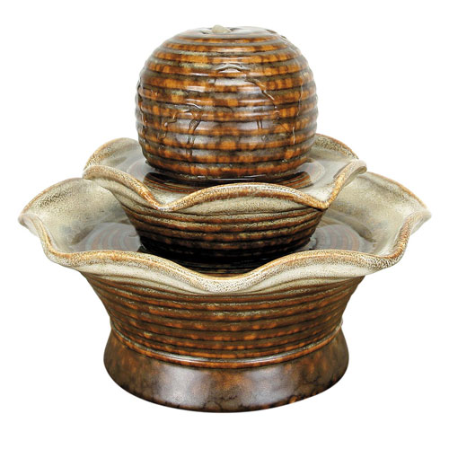 Foreside Home and Garden Brown Tiered Fountain