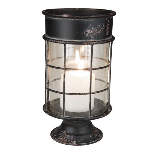 Foreside Home and Garden Large Metal and Glass Pillar Holder