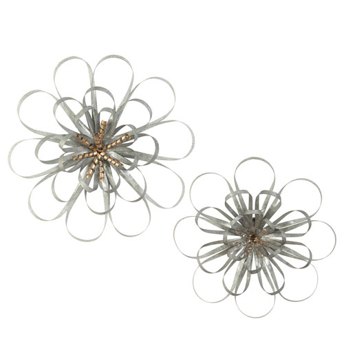 Foreside Home and Garden Ribbon Wall Flowers, Set of Two