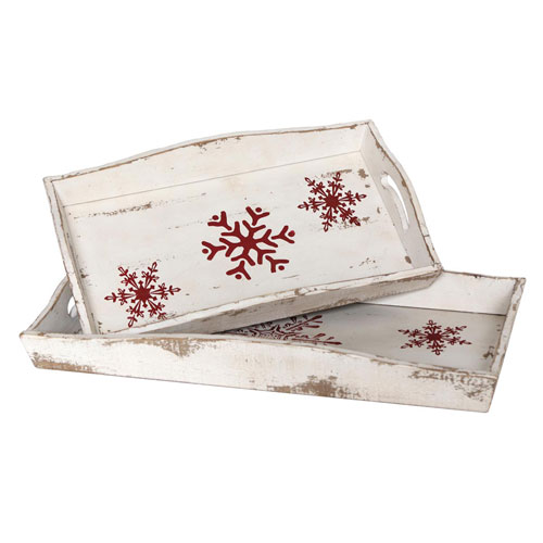 White Trays with Red Snowflakes, Set of Two