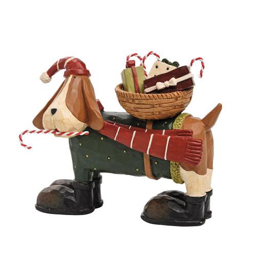 Williraye Studios Dog With Candy Cane Basket