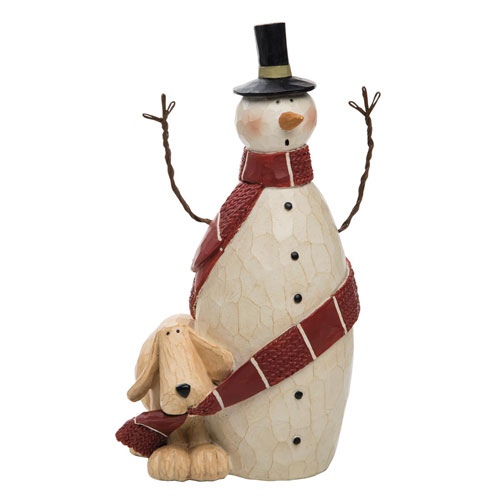 Williraye Studios Dog Wrapping Snowman