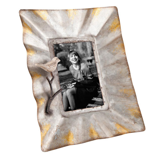 Foreside Home and Garden Galvanized Photo Frame with Bird
