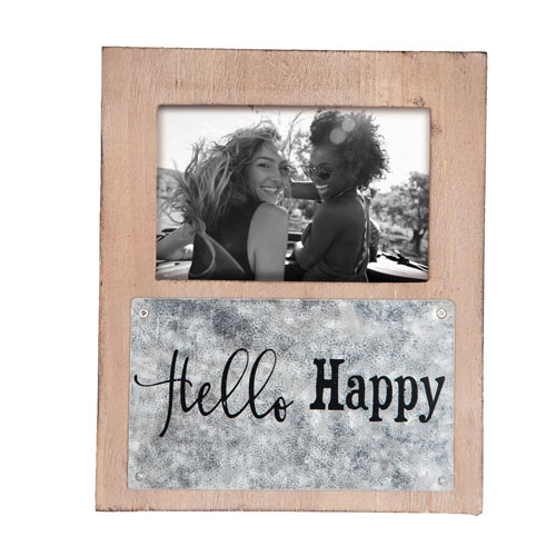 Foreside Home and Garden Hello Happy 4 x 6 in. Photo Frame