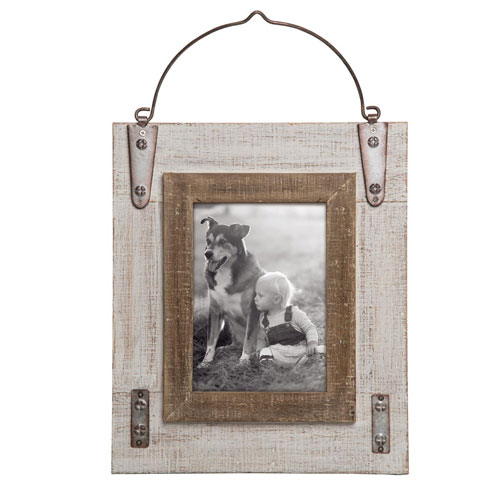 Foreside Home and Garden Hinged White Wood 5 x 7 in. Photo Frame