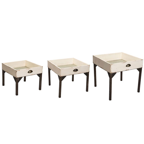Foreside Home and Garden Farm Drawer Nesting Tables, Set of Three