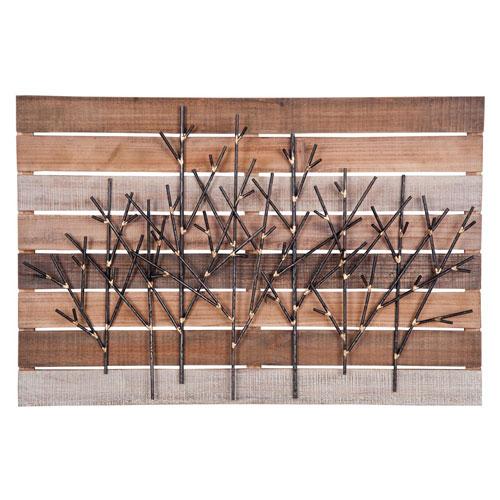 Metal Trees on Wood Wall Art