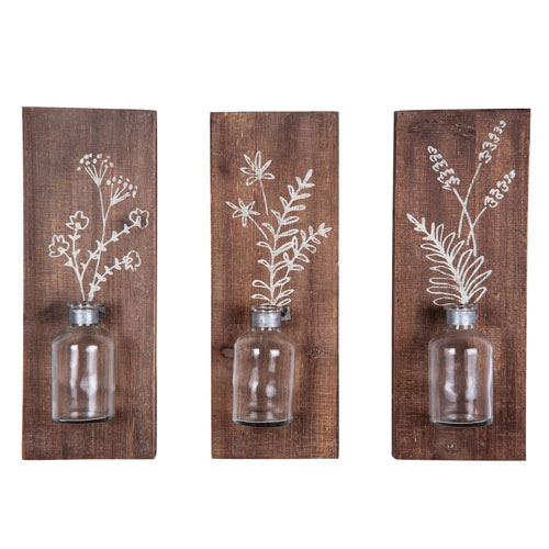 Foreside Home and Garden Fern Wall Vases, Set of Three