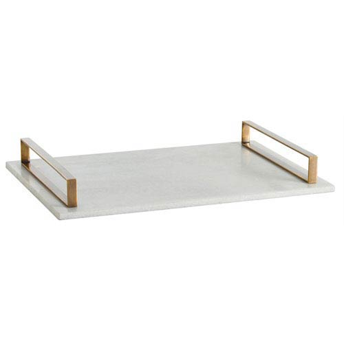 Arteriors Home Exton White Polished 3-Inch Marble Slab Tray