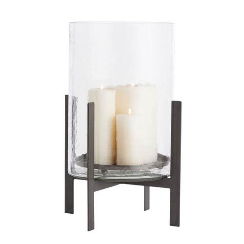 Bowen Clear and Natural Iron 15-Inch Hurricane Candle Holder